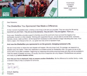 ShelterBox Update Letter