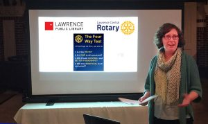 Melissa Fisher Issacs | Lawrence Public Library | Lawrence Central Rotary | Four Way Test