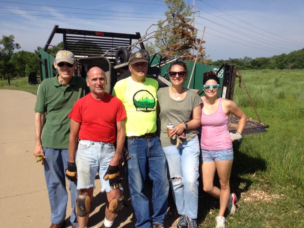 Arbor Work Day 6-18-2016 | Lawrence Central Rotary | Vern Brobst | Jim Peters | Fred Atchison | Audrey Coleman | Taryn Parillo | Glenn Davis (not pictured)